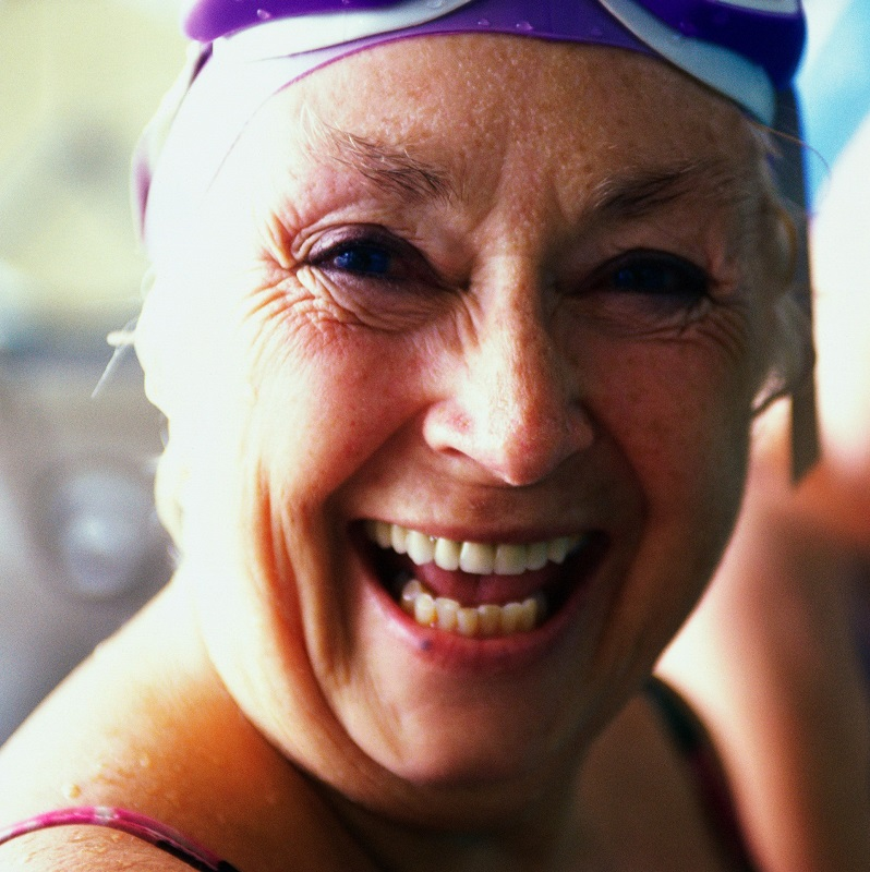 Portrait of senior woman with swimming hat and goggles on